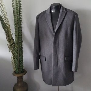Express men's gray wool coat with navy lining